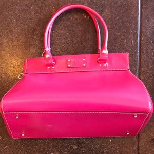 Kate Spade ♠️ (2004) boar-skin hot-pink leather